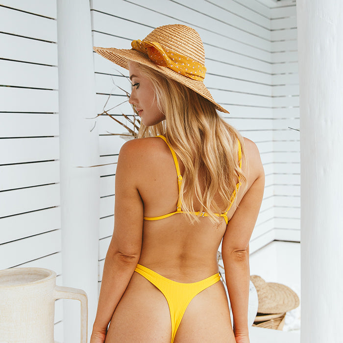 HENDRIX Ribbed Bikini Set - Lemon