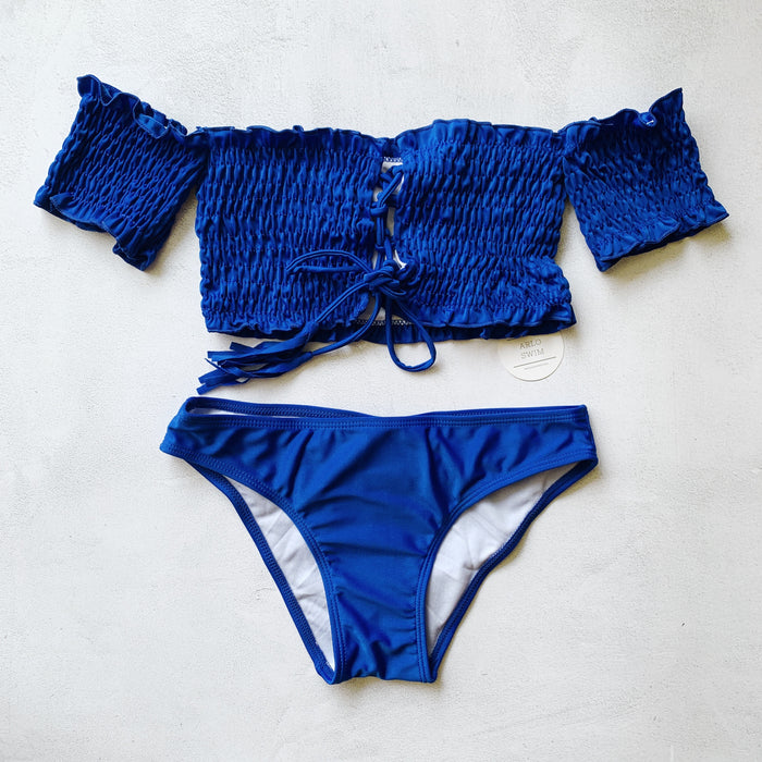 LAYLA Off-Shoulder Bikini Set - Cobalt Blue