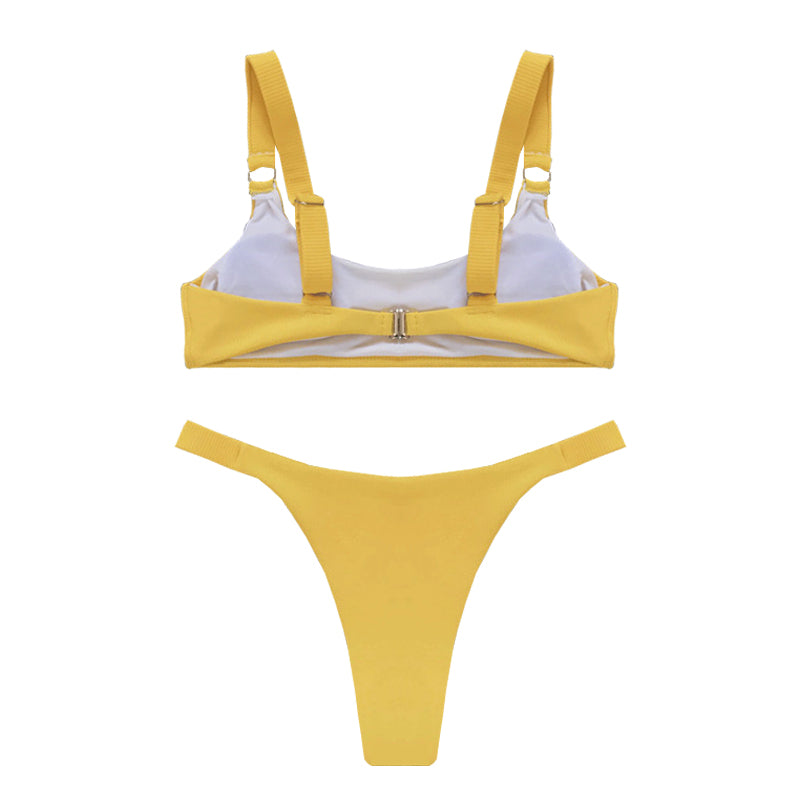 HARPER Ribbed Bikini Set - Yellow