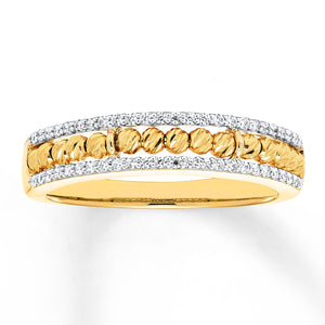 10K Yellow Gold Beaded Ring 1/5 ct tw Diamonds