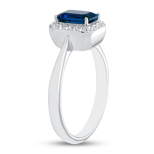 Blue & White Lab-Created Sapphire Ring 10K White Gold