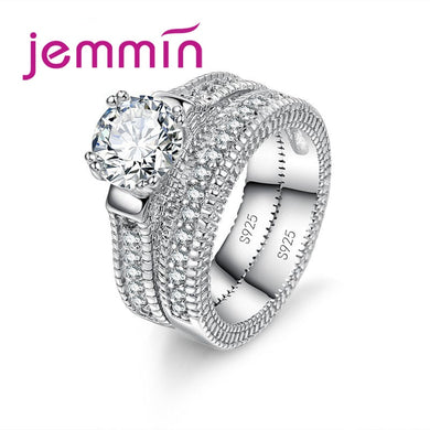 Jemmin Luxury White Bridal Wedding Ring Set  Jewelry Promise CZ Stone   Wedding Rings for Women Original Silver Jewelry