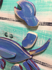 Blue Crab Wall Hook - Single by Binki Creations