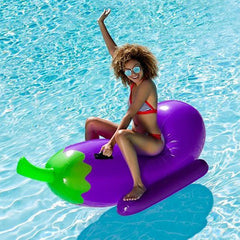 Giant Inflatable Eggplant Emoji Pool Float - Ride-on