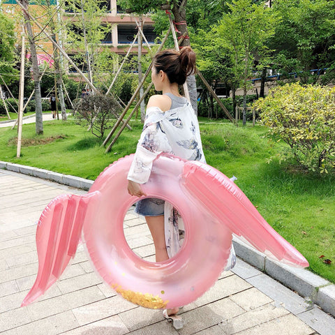 Inflatable Flamingo Wings Pool Float