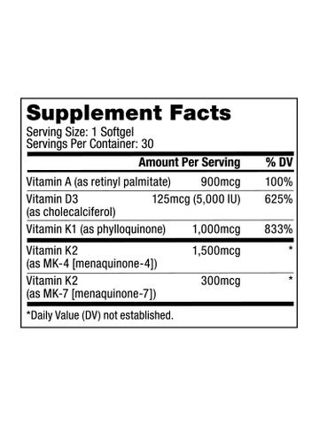 Image of Vitamins A-D-K Supplements Ingredients
