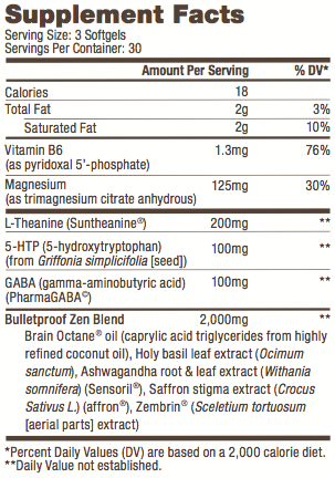 Image of Zen Mode Supplements Ingredients