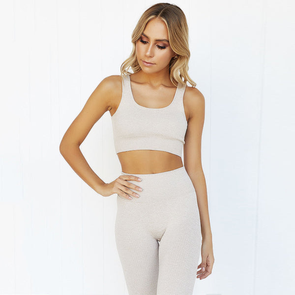 Cream Two Piece Soft Stretch Workout Set