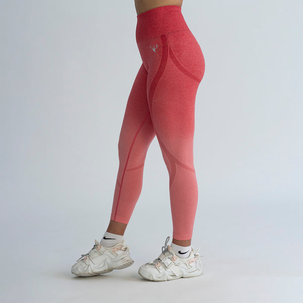 Seamless Contour Red Ombre Leggings