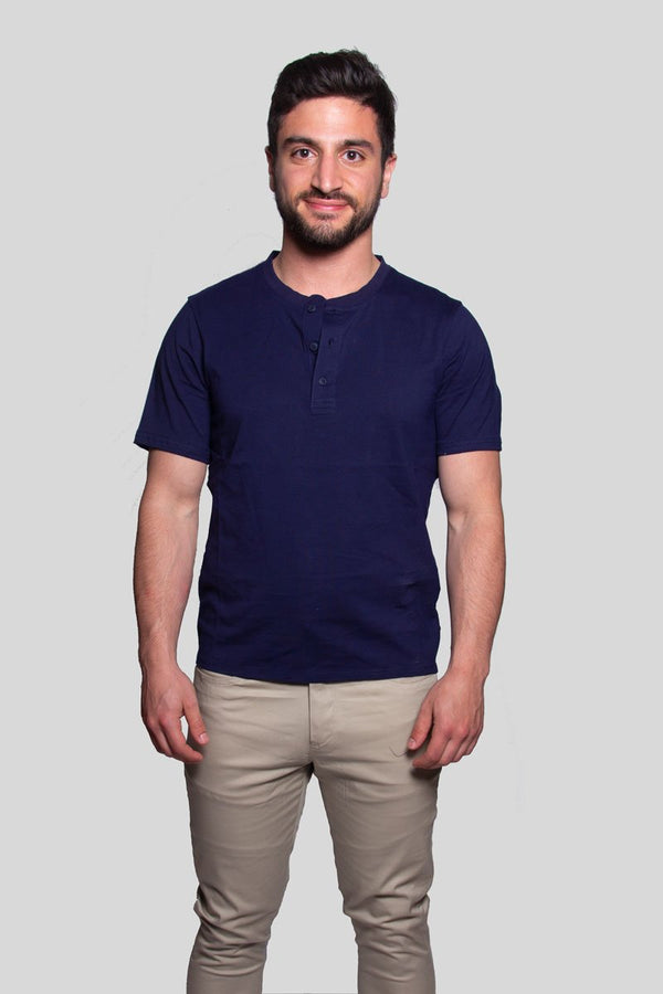 Henley Blue Short Sleeve Shirt Henley Under 5'10 XS