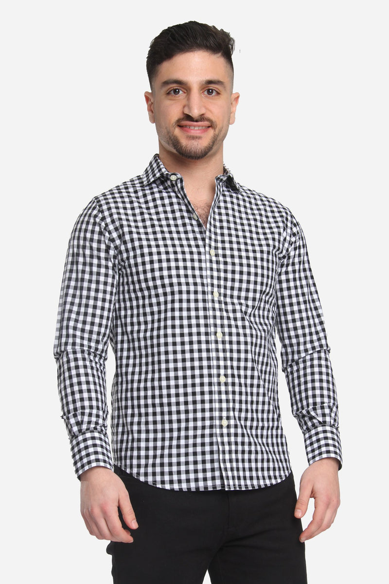 Button Down Shirt Black Check Casual Shirt Lianfa