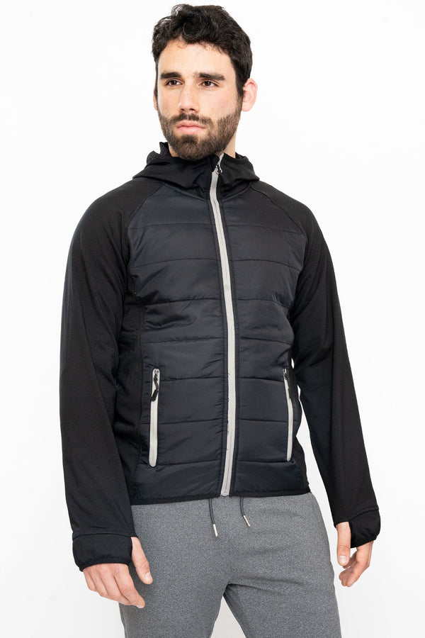 Zip Hybrid Hoodie Black Outerwear Under 5'10
