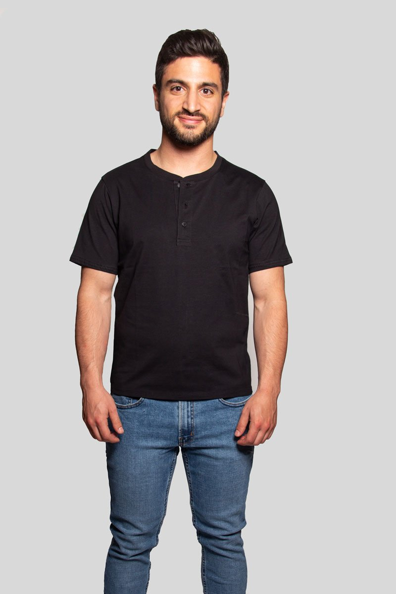 Henley Black Short Sleeve Shirt Henley Under 5'10 XS