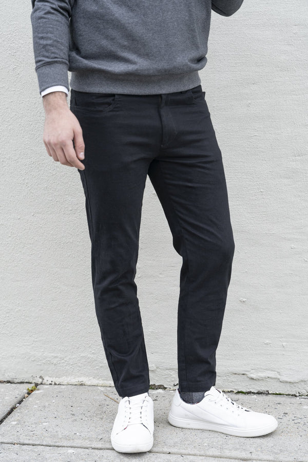 Simon 2.0 Black Chino Pants Under 5'10