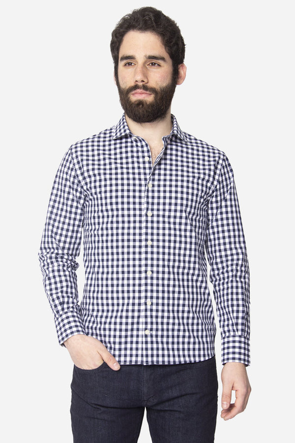 Button Down Shirt Royal Blue Check Button Down Shirt Lianfa XS