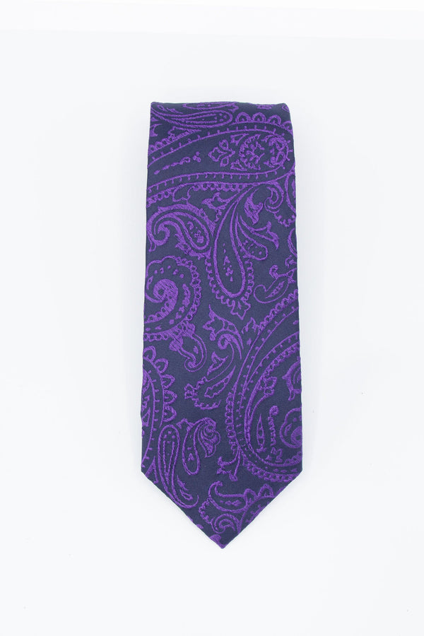 Silk Tie Blue Purple Paisley Ties Under 5'10