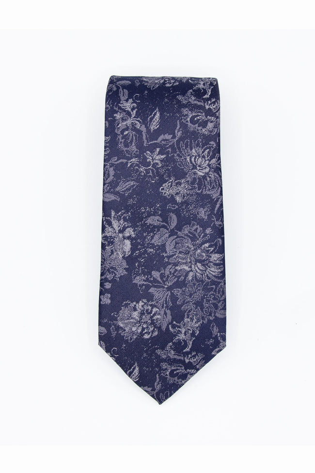 Blue & White Floral Men's Tie