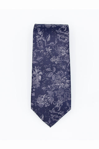 Blue Floral Men's Silk Tie