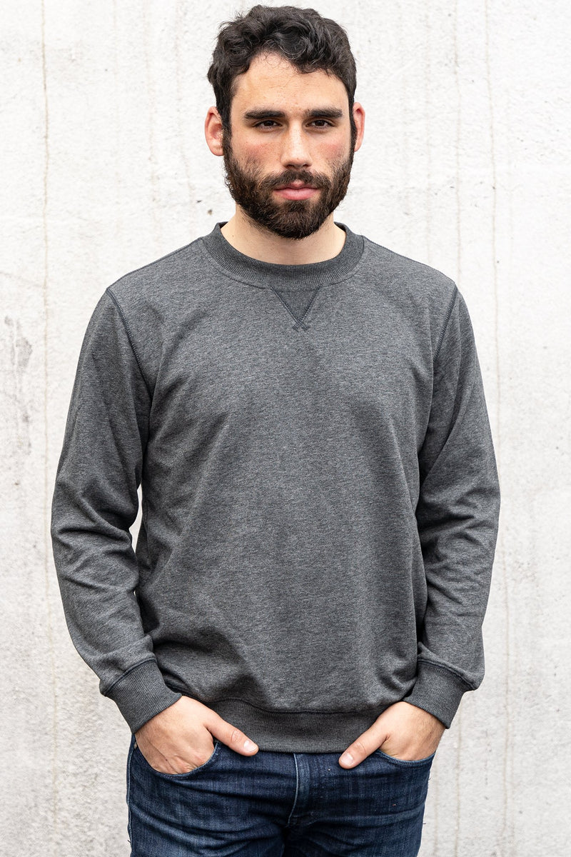 French Terry Crew Sweatshirt Charcoal Gray Sweatshirt Under 5'10