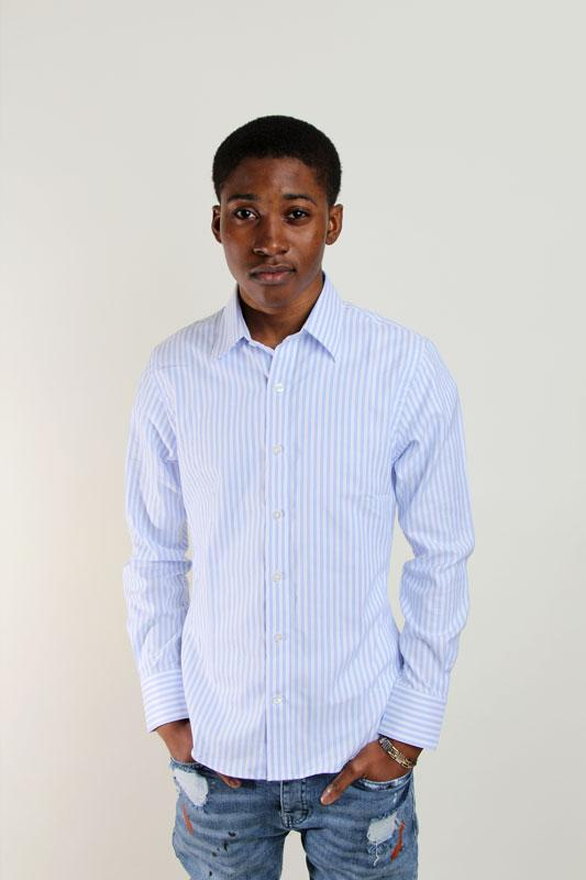 Light Blue Striped Modern Oxford Button Down Shirt