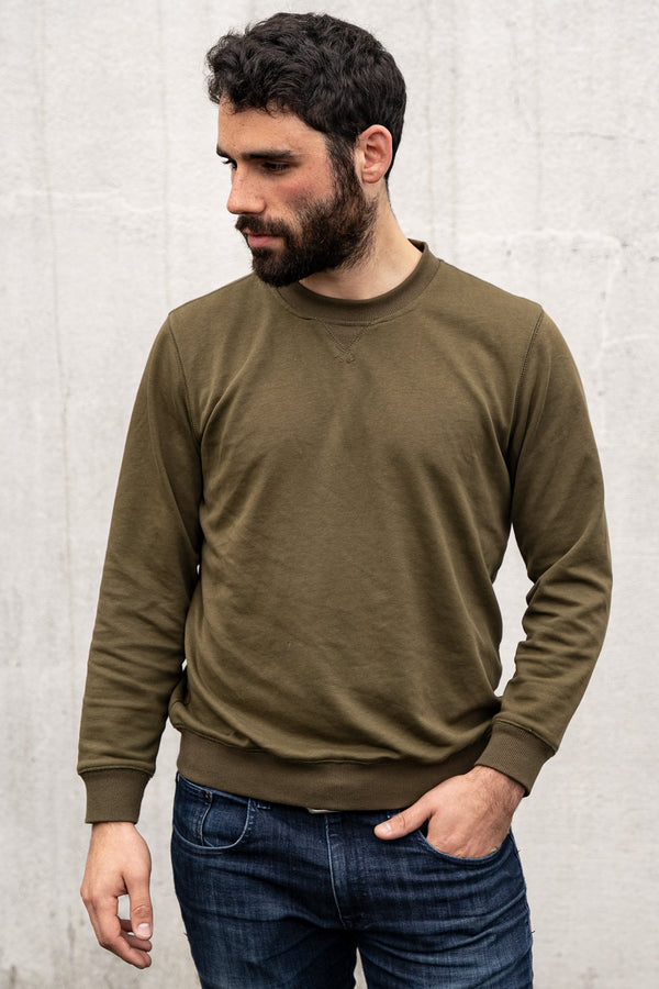 French Terry Crew Sweatshirt Olive Green Sweatshirt Under 5'10