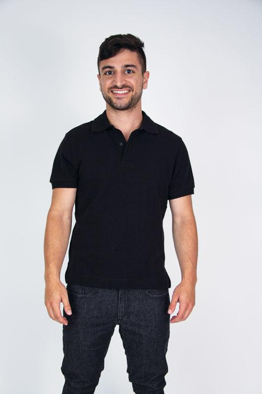 Polo Black Cotton Pique