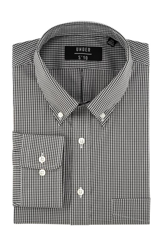 Black Micro Gingham Performance Button Down Shirt