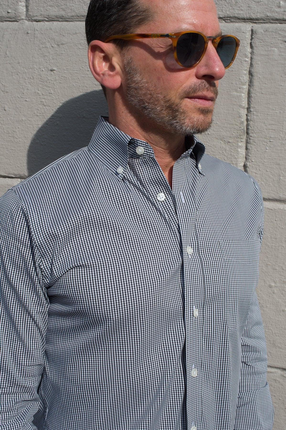 Black Gingham Button Down Shirt