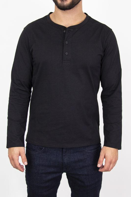 Henley Black Long Sleeve Shirt