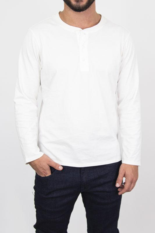 Henley White Long Sleeve Shirt