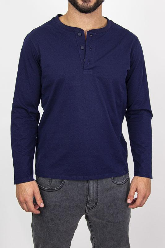 Henley Blue Long Sleeve Shirt