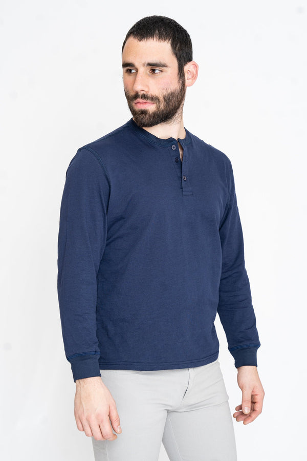 Henley Long Sleeve T-Shirt Navy Slub Henley Under 5'10