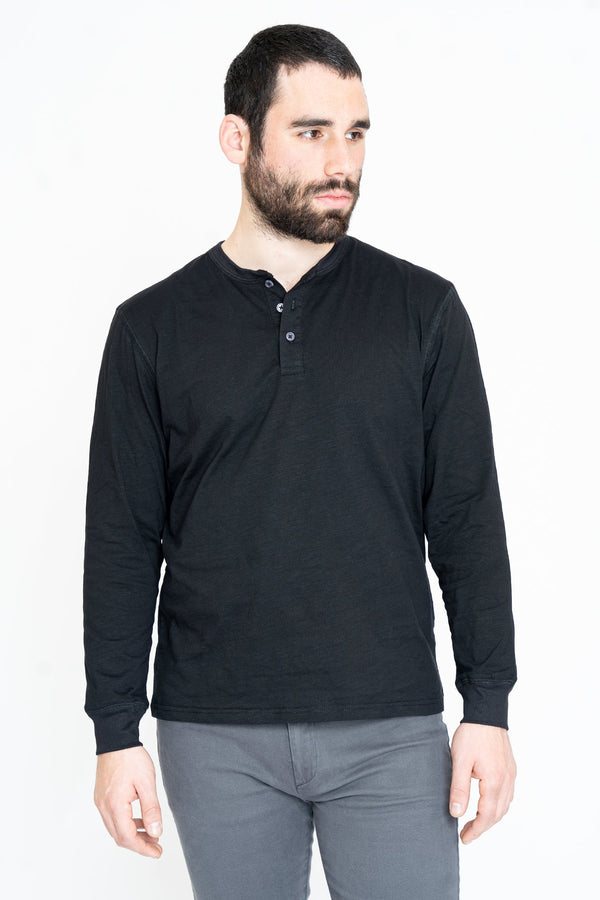 Henley Long Sleeve T-Shirt Black Slub Henley Under 5'10 XS