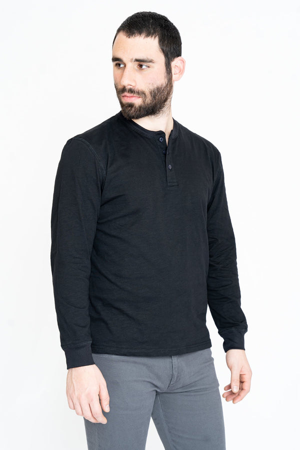 Henley Long Sleeve T-Shirt Black Slub Henley Under 5'10
