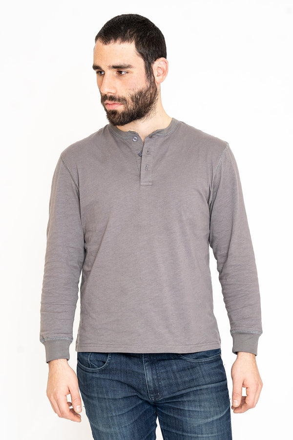 Henley Long Sleeve T-Shirt Gray Slub Button Down Shirt Under 5'10 XS