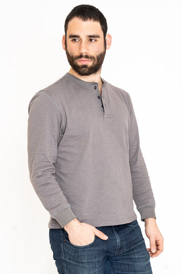 Henley Long Sleeve T-Shirt Gray Slub Button Down Shirt Under 5'10