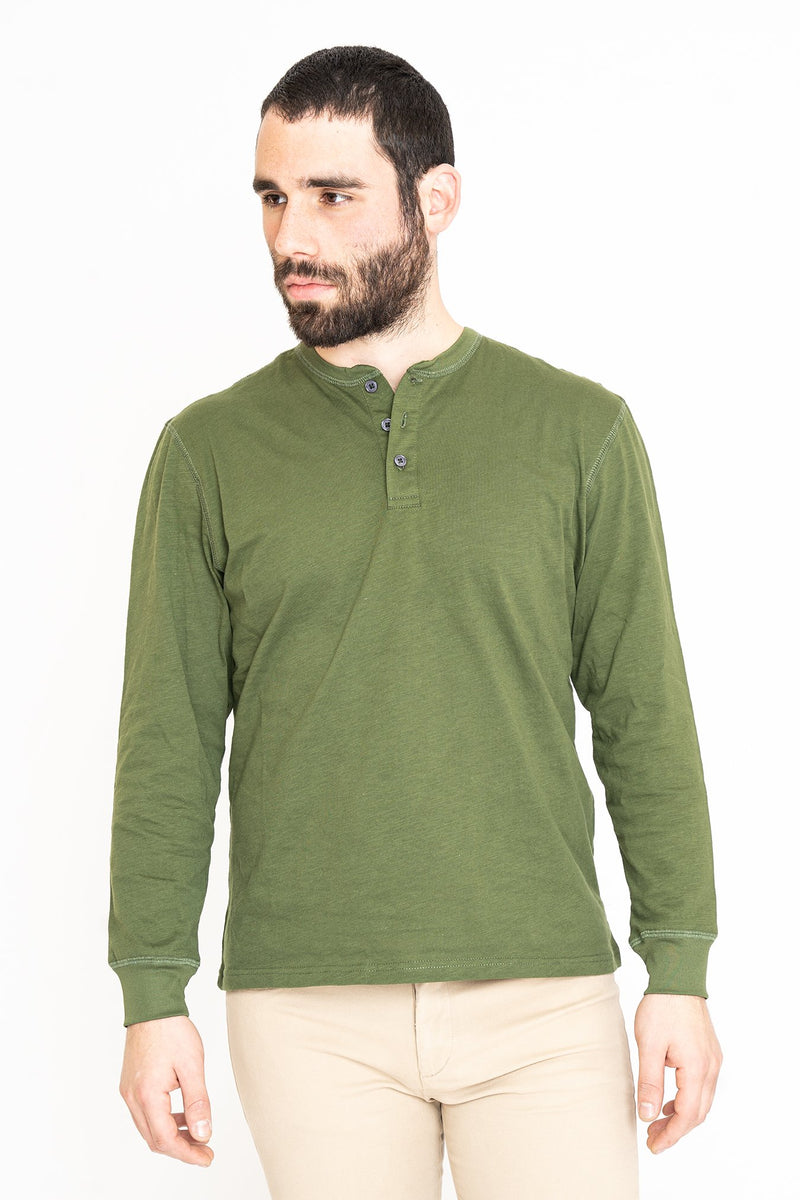 Henley Long Sleeve T-Shirt Green Slub Button Down Shirt Under 5'10 XS