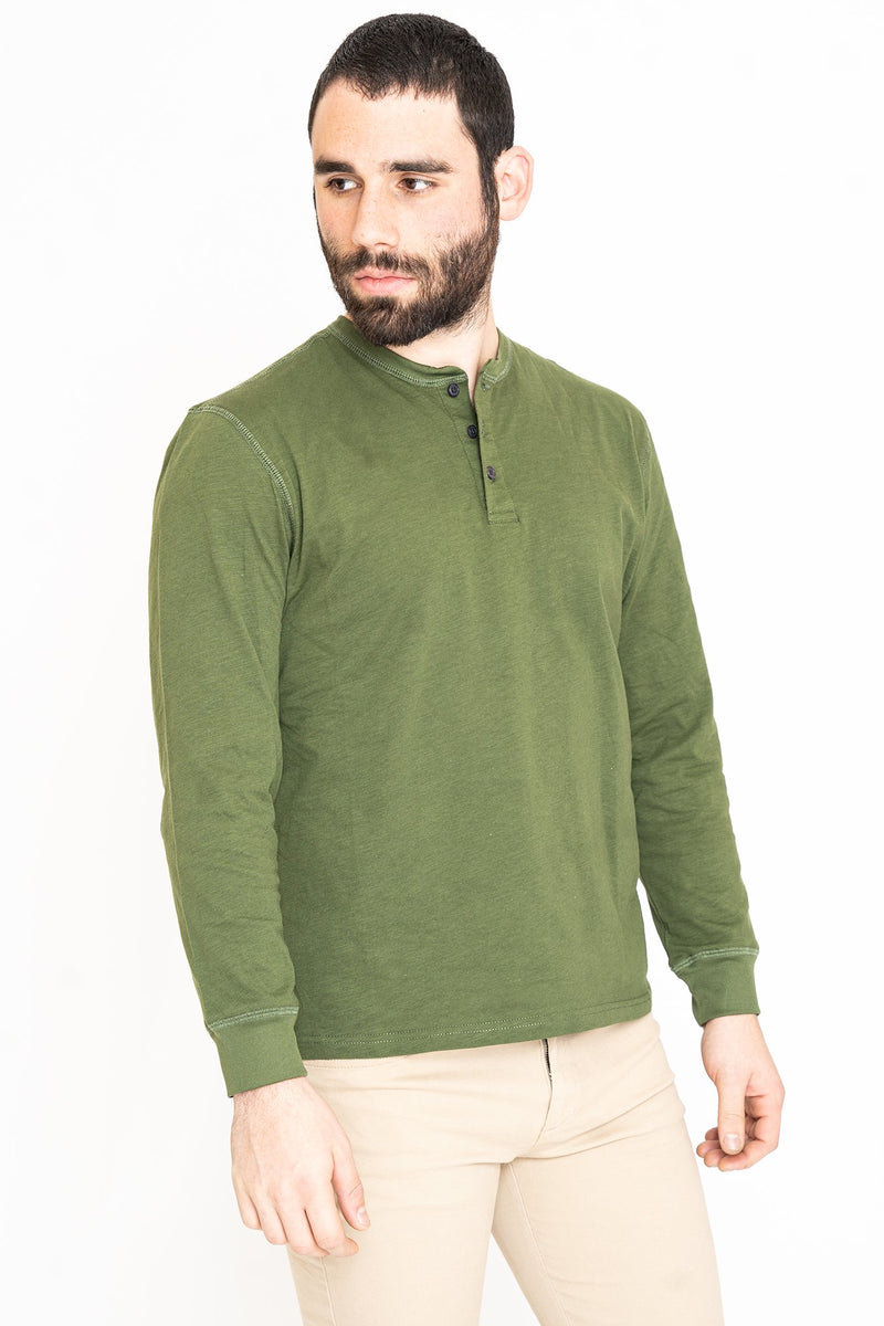 Henley Long Sleeve T-Shirt Green Slub Button Down Shirt Under 5'10