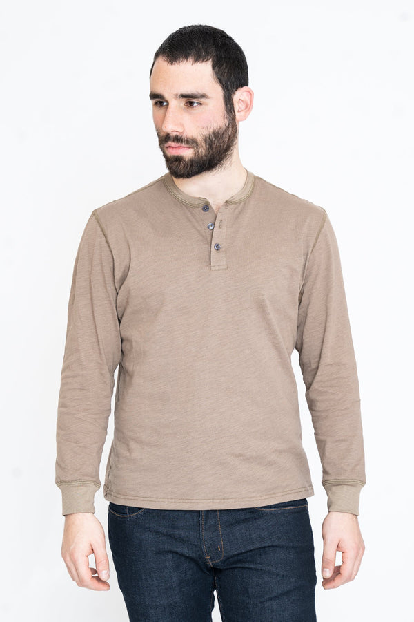 Henley Long Sleeve T-Shirt Stone Slub Henley Under 5'10 XS