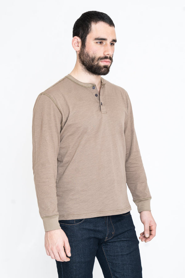 Henley Long Sleeve T-Shirt Stone Slub Henley Under 5'10