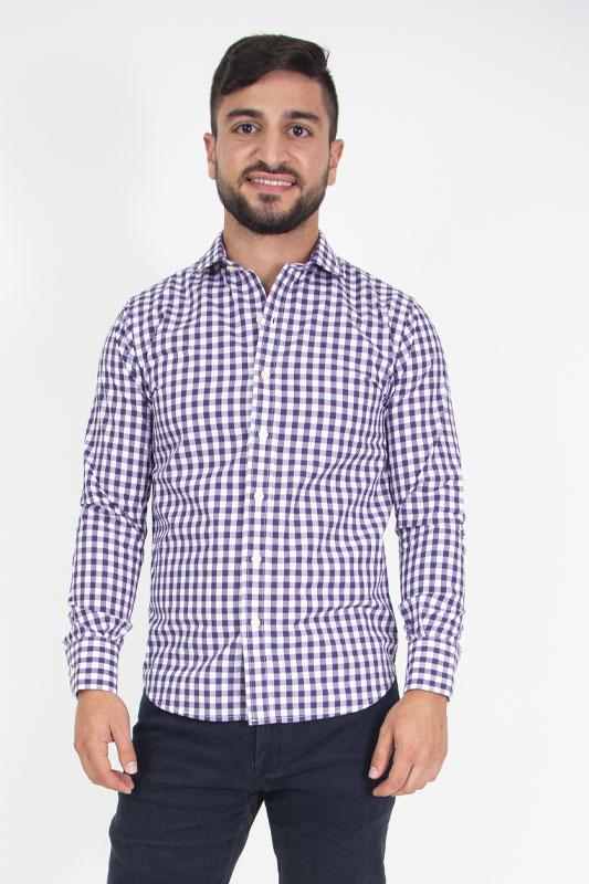 Button Down Shirt Purple Check