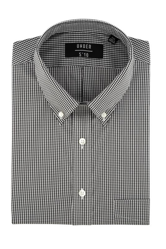Black Micro Gingham Button Down Shirt