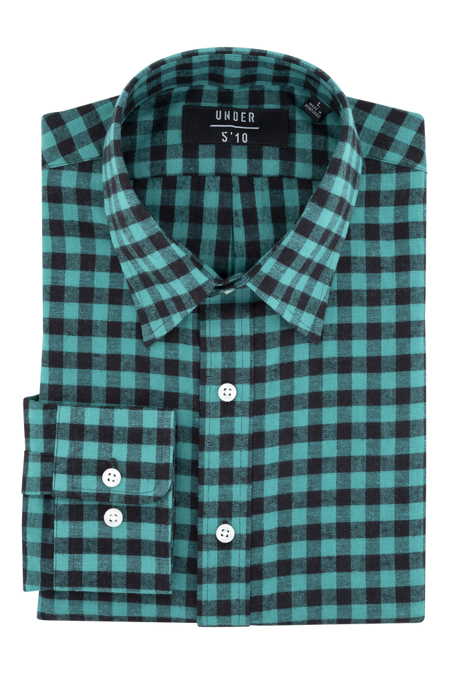 Green Black Checker Flannel Shirt For Short Men and Men Under 5'10
