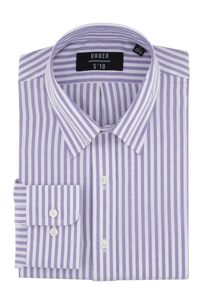 Purple Striped Modern Oxford Shirt For Short Men and Men Under 5'10