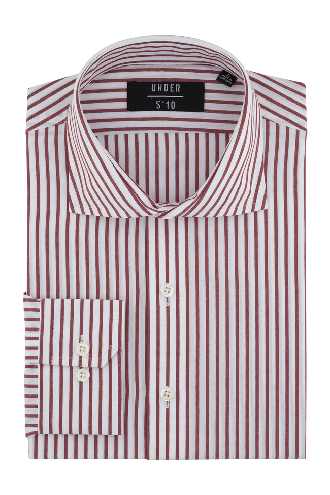 Red Stripe Dress Shirt For Short Men and Men Under 5'10