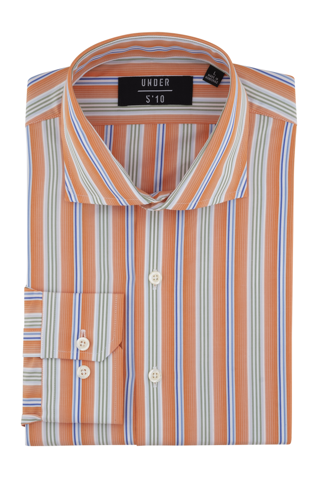 Orange Green Blue Striped Dress Shirt For Short Men and Men Under 5'10