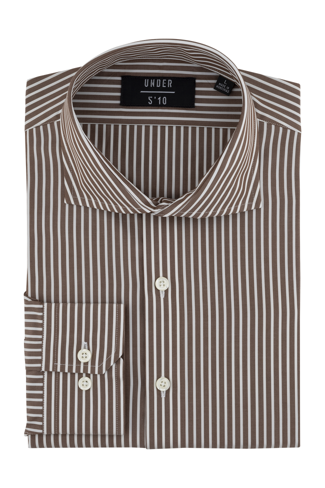Brown White Stripe Dress Shirt