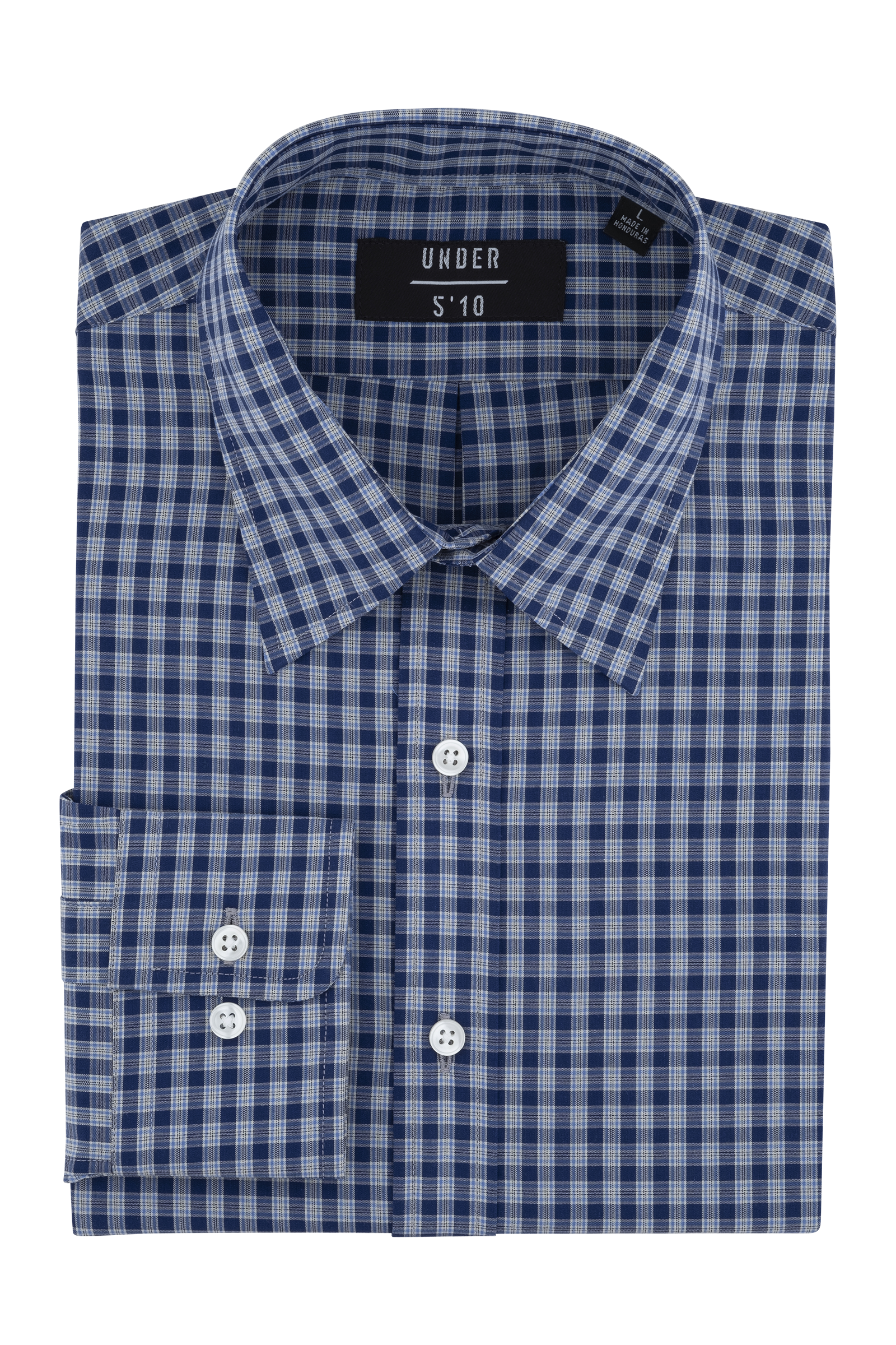 Blue Mini Tartan Button Down Shirt For Short Men and Men Under 5'10