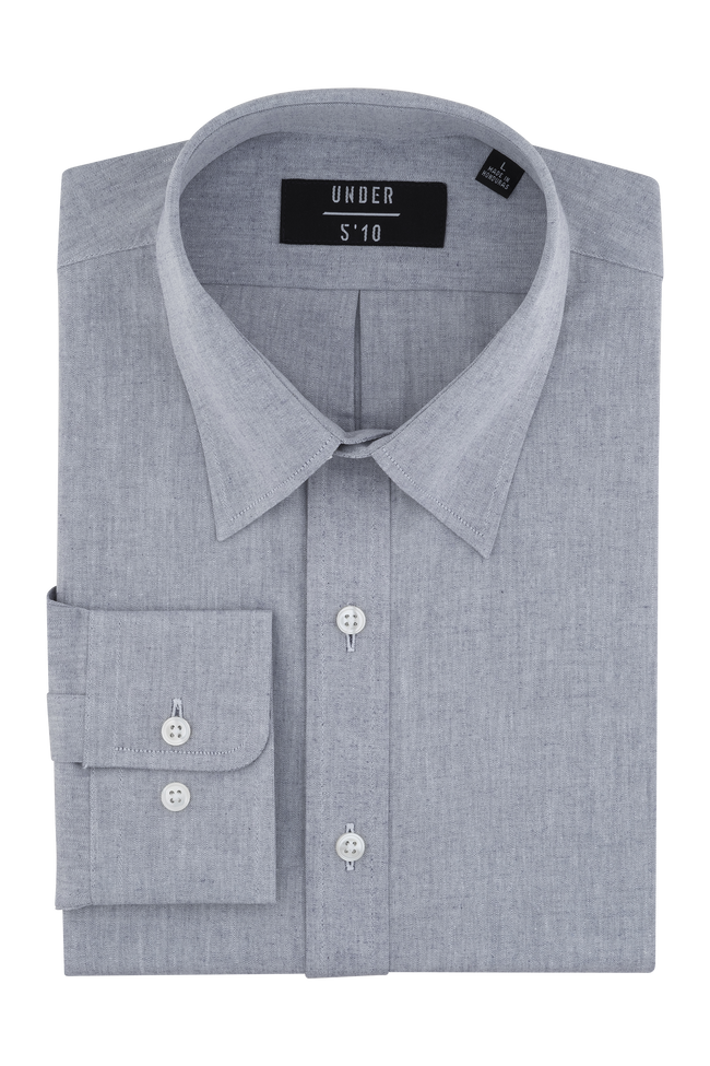 Steel Gray Sunwashed Chambray Shirt For Short Men and Men Under 5'10