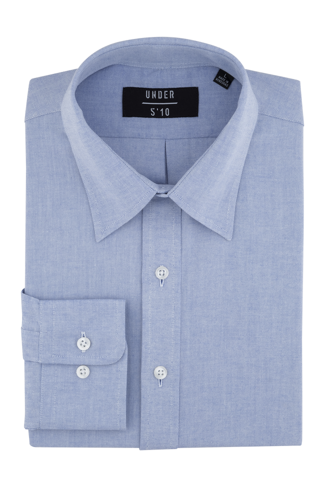 Royal Blue Modern Oxford Shirt For Short Men and Men Under 5'10
